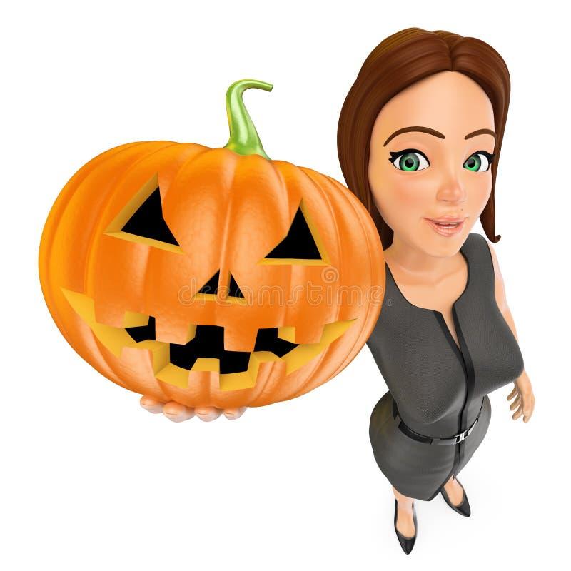 kvinna för affär 3D med en stor pumpa halloween vektor illustrationer