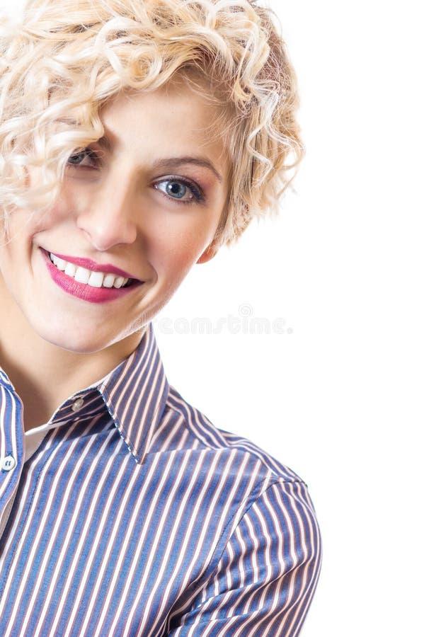 Kvinna för affär för övre leende för slut ung royaltyfri fotografi
