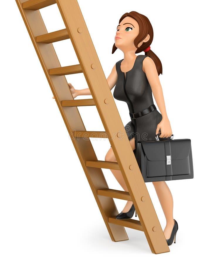 kvinna för affär som 3D upp klättrar en trästege Job Promotion vektor illustrationer