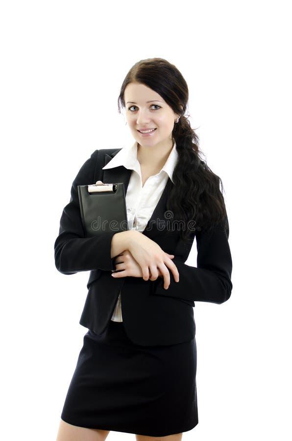 kvinna för affärsclipboardstående royaltyfri fotografi