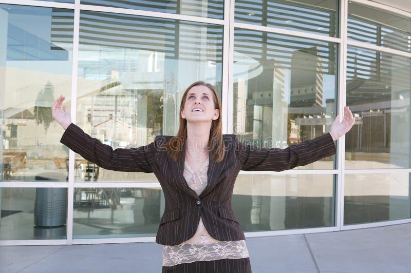 kvinna för affärsframgång arkivfoto