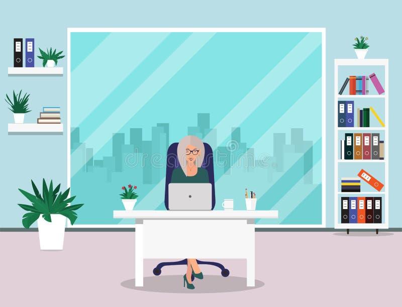 kvinna för affärskontor Härlig kvinna som i regeringsställning sitter på arbete också vektor för coreldrawillustration stock illustrationer