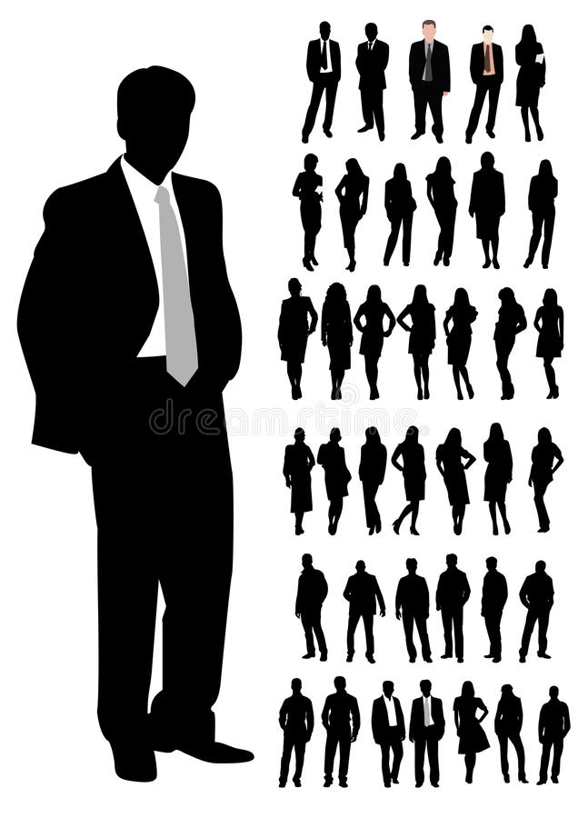 kvinna för affärsman stock illustrationer