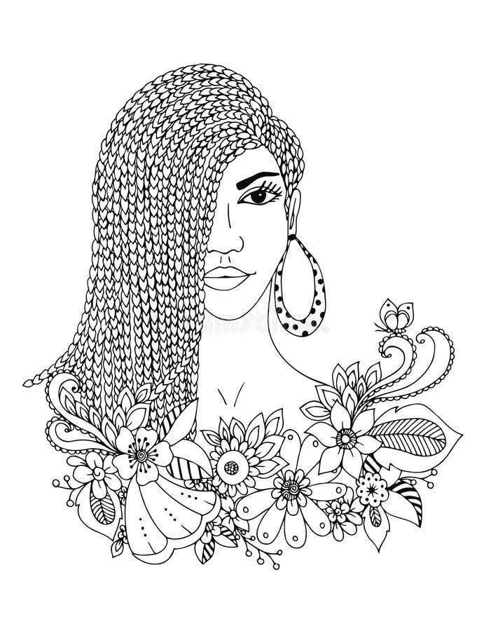 Kvinna för afrikansk amerikan för stående för vektorillustrationzentangl, mulatt, neger Klottra den blom- ramen, flätade trådar,  royaltyfri illustrationer