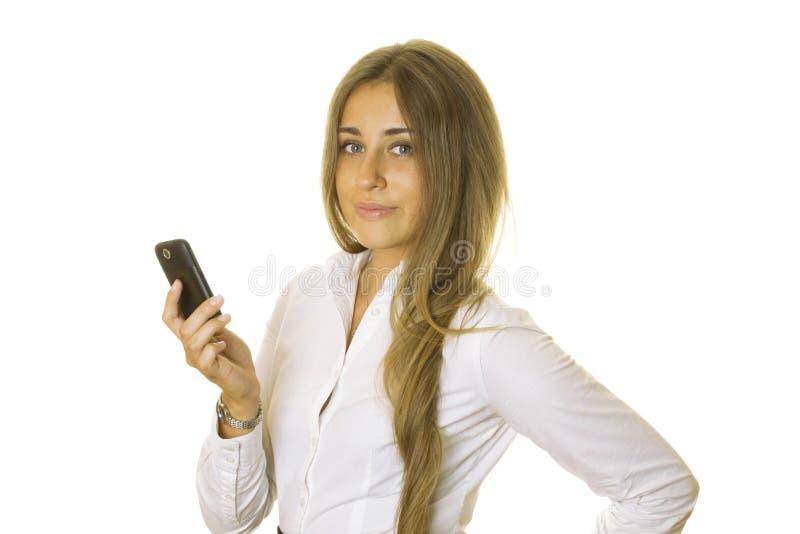 kvinna för avläsning för telefon för affärsmeddelande mobil fotografering för bildbyråer