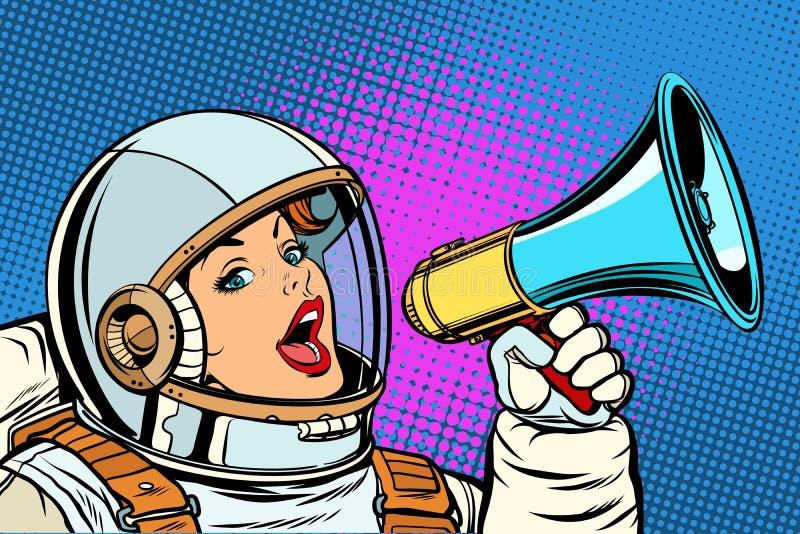 Kvinna för bakgrund för popkonst med megafonen vektor illustrationer