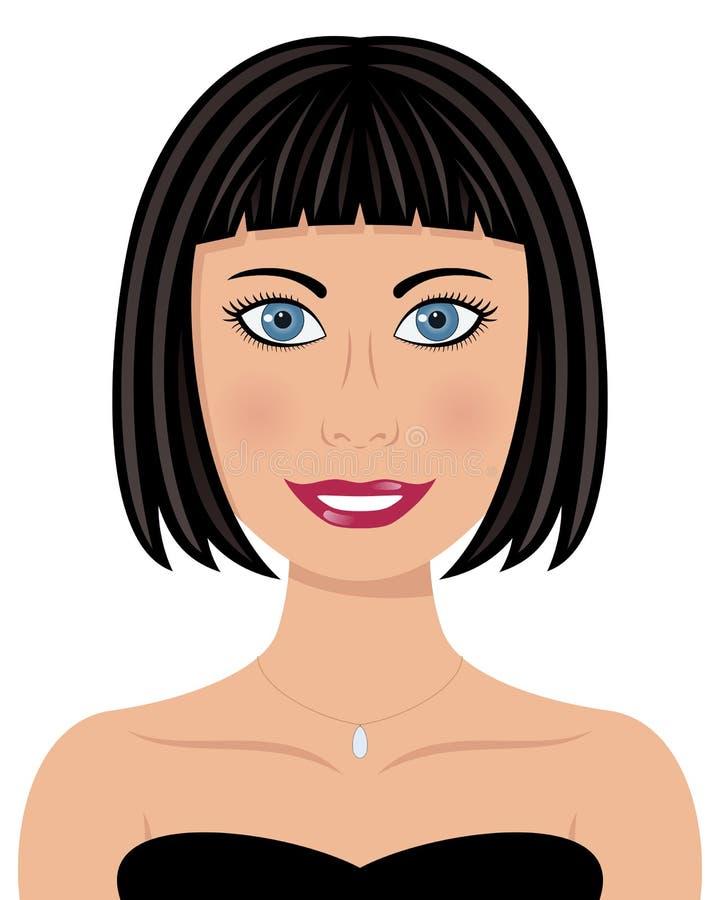 Kvinna för blåa ögon för svart hår royaltyfri illustrationer