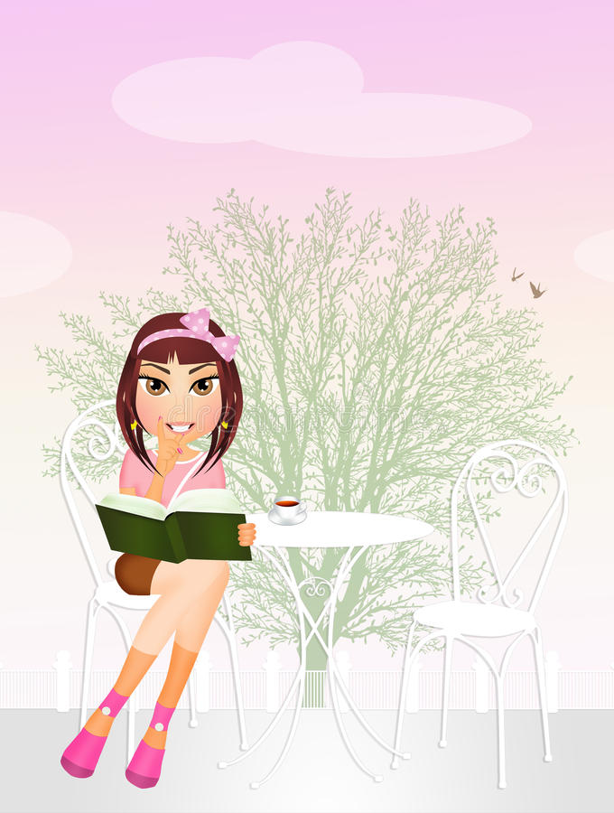 kvinna för bokparkavläsning royaltyfri illustrationer