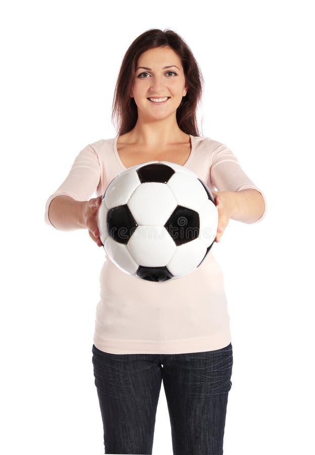 kvinna för bollholdingfotboll royaltyfri bild