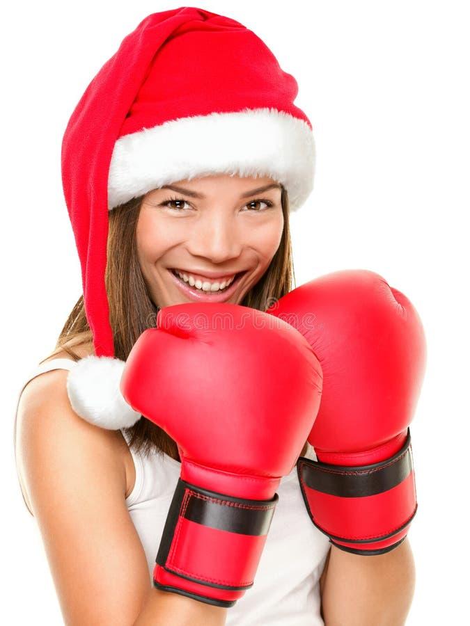 kvinna för boxningjulkondition royaltyfri fotografi