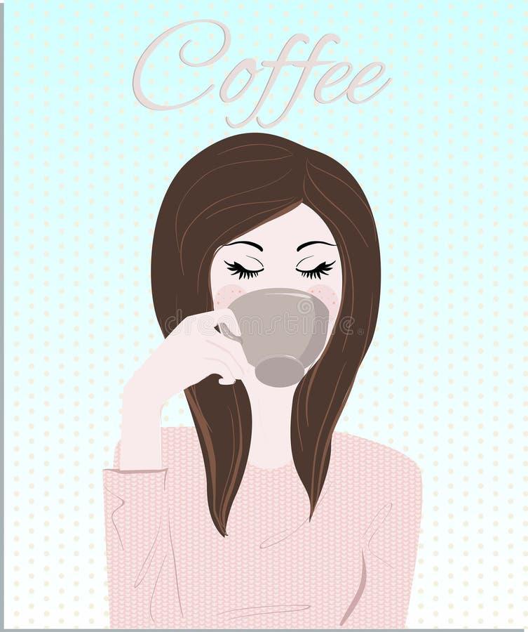 Kvinna för brunett för tappning för kaffefrukost som A dricker hennes kopp kaffeillustration vektor illustrationer