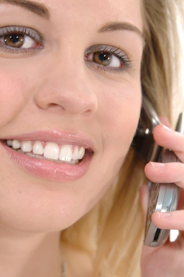 Kvinna För Celltelefon Arkivfoto