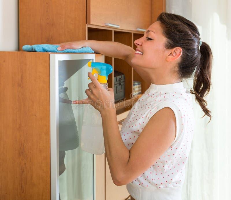 kvinna för cleaningmöblemangutgångspunkt royaltyfri fotografi