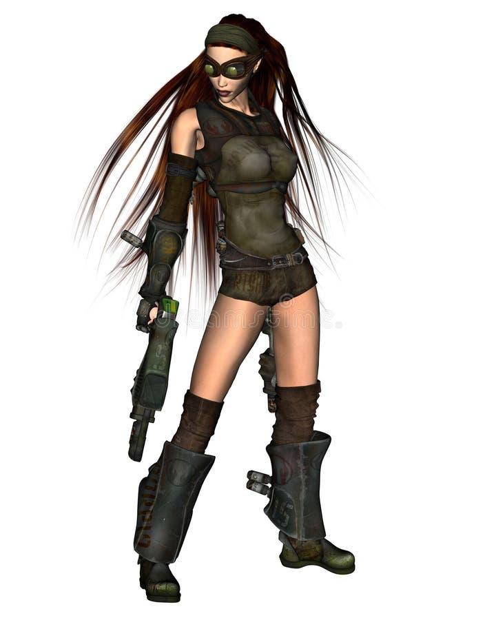 kvinna för cyberpunk 2 vektor illustrationer
