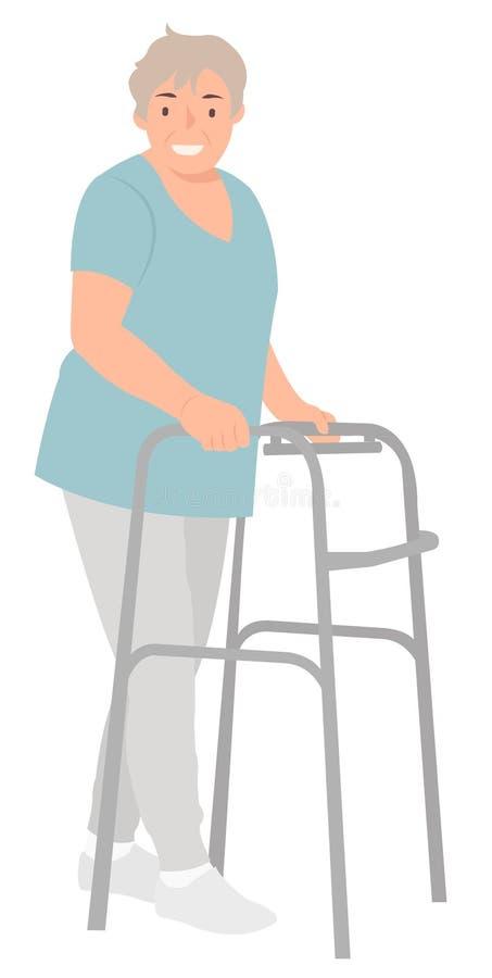 Kvinna för design för tecknad filmfolktecken äldre med att gå ramen som gör rehabilitering vektor illustrationer