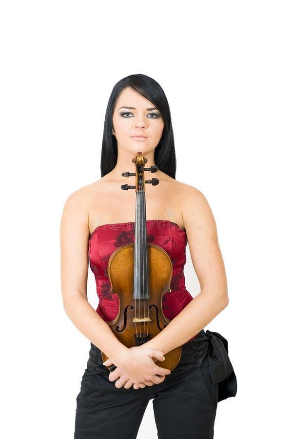 kvinna för fiol för stående för glamour leka sexig arkivfoto