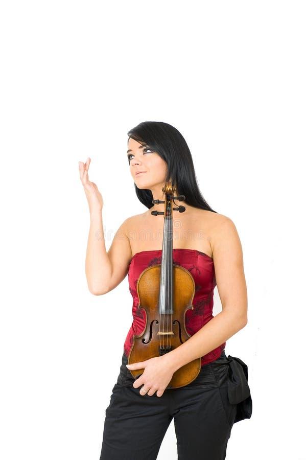 kvinna för fiol för stående för glamour leka sexig royaltyfri fotografi