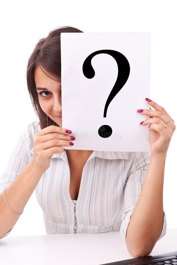 kvinna för fråga för affärsholdingfläck arkivbild