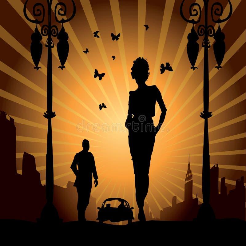 kvinna för fri man för förälskelse för bilstad stads- stock illustrationer