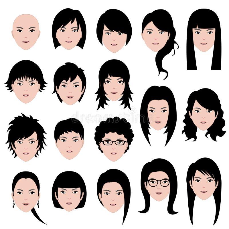 kvinna för frisyr för framsidakvinnlighår stock illustrationer