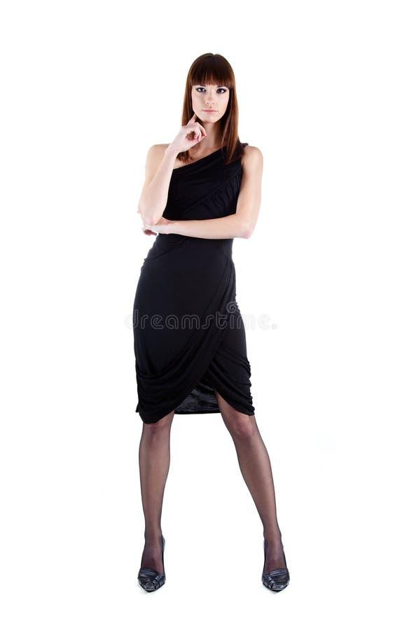 kvinna för full längd för klänningafton sexig skjuten royaltyfri fotografi