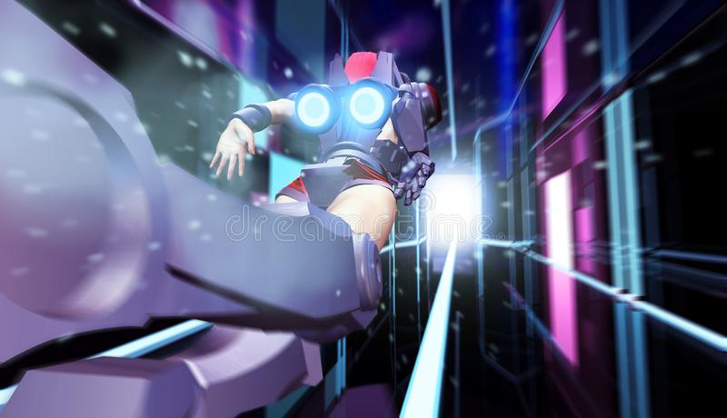 Kvinna för Futurisctic science fictionsuperhero i dräkttunnelflyg stock illustrationer