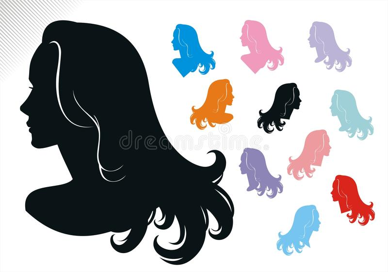 kvinna för hårstilar tre royaltyfri illustrationer