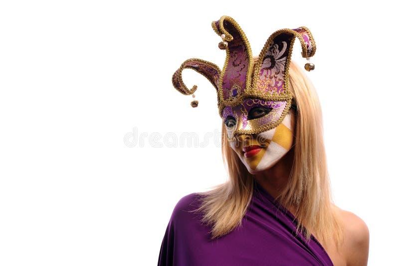 kvinna för half maskering n venice royaltyfria bilder
