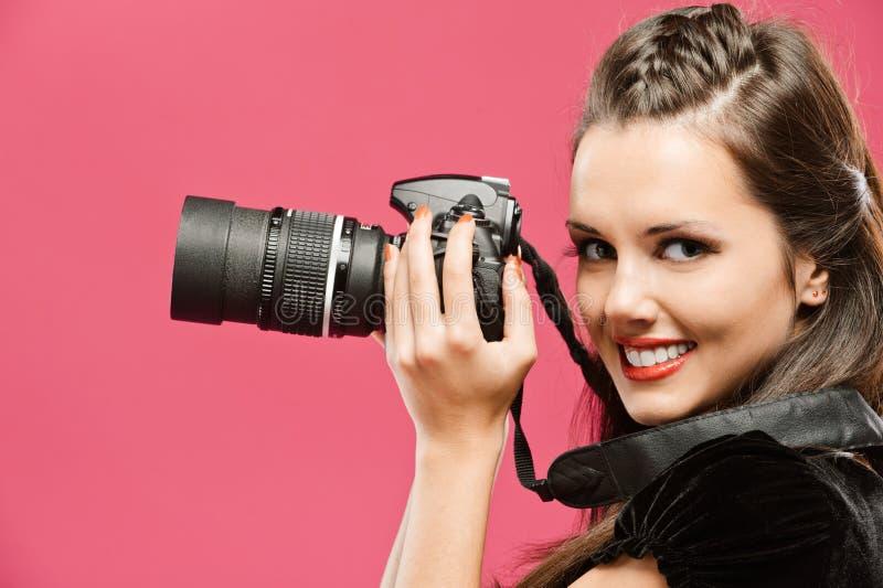 kvinna för handhållfotograf arkivfoto
