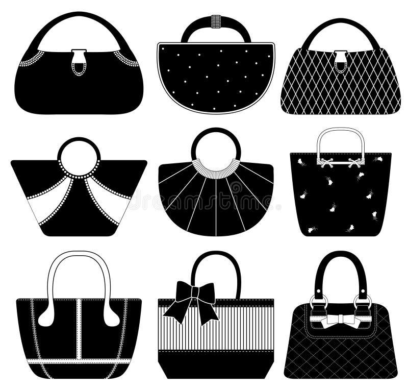 kvinna för handväska för handväska för påsemodekvinnlig vektor illustrationer
