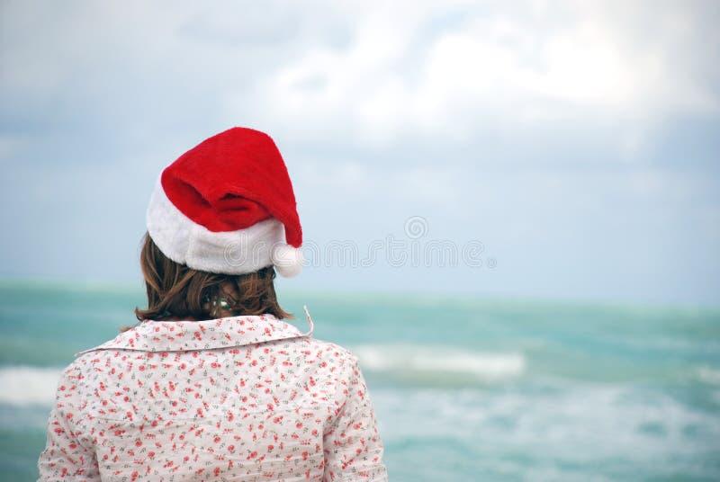 kvinna för hatt s santa royaltyfria foton