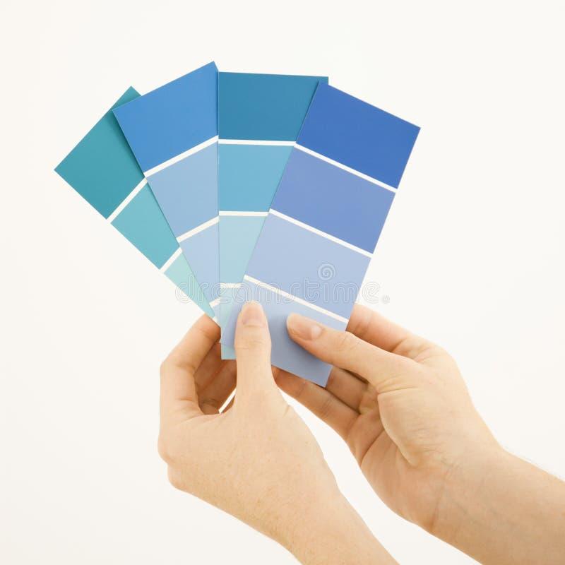kvinna för holdingmålarfärgprovkartor arkivfoton