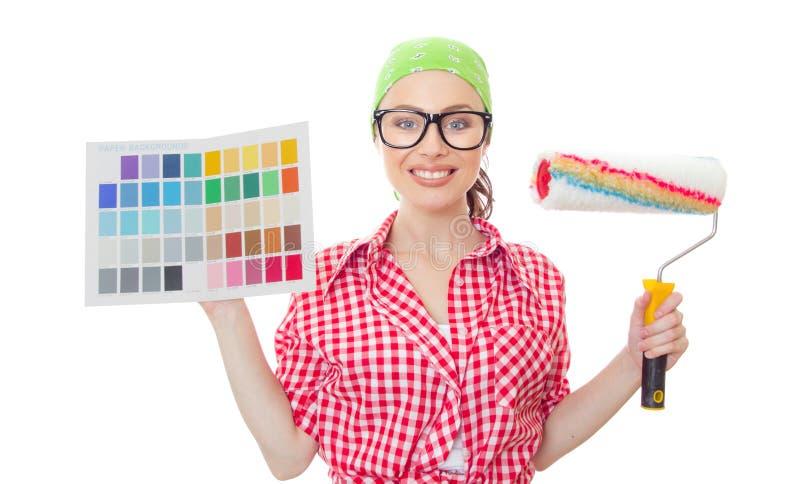 Kvinna för husmålare royaltyfria foton