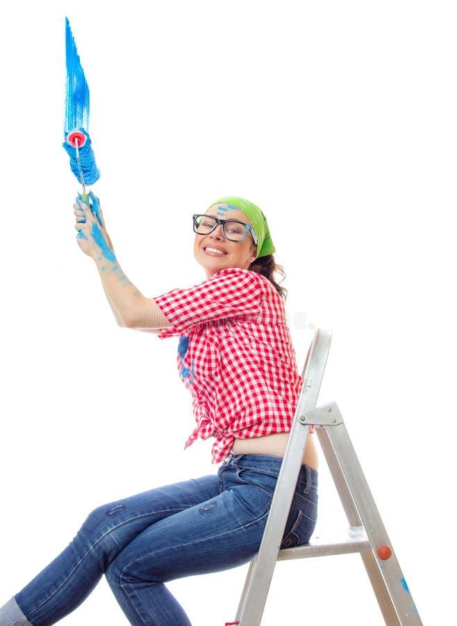 Kvinna för husmålare fotografering för bildbyråer