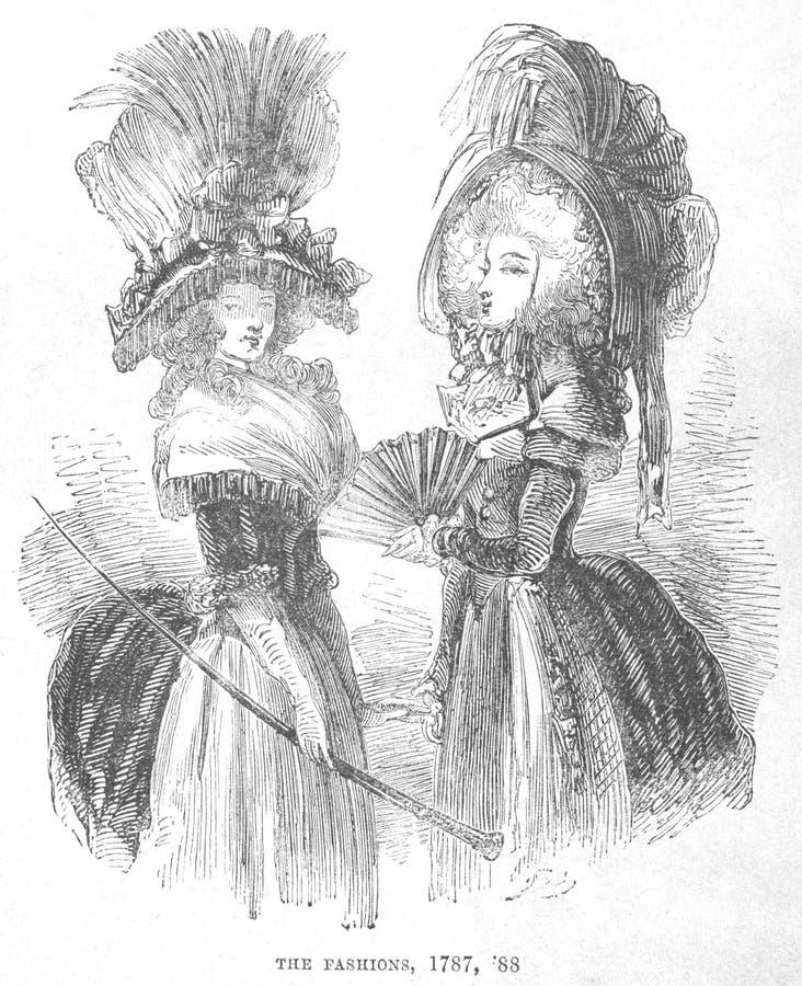 kvinna för illustration s för 1788 mode royaltyfri illustrationer