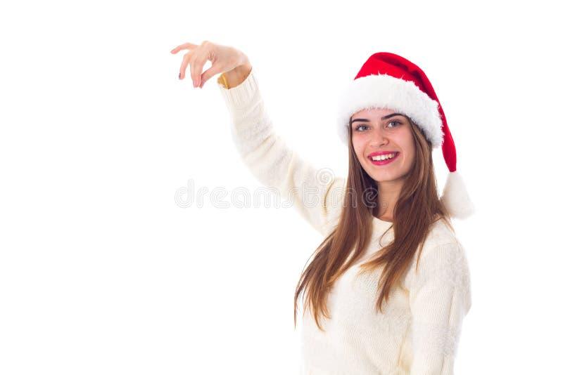 kvinna för julhattred arkivbild