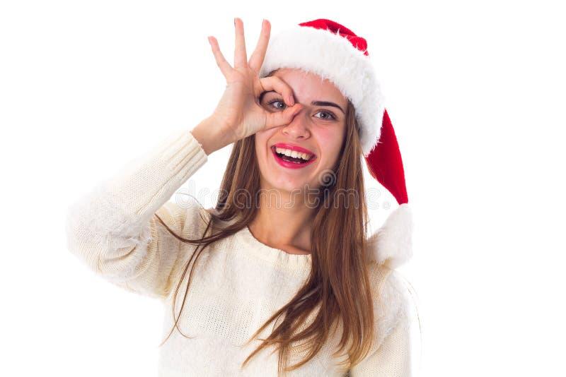 kvinna för julhattred royaltyfri bild