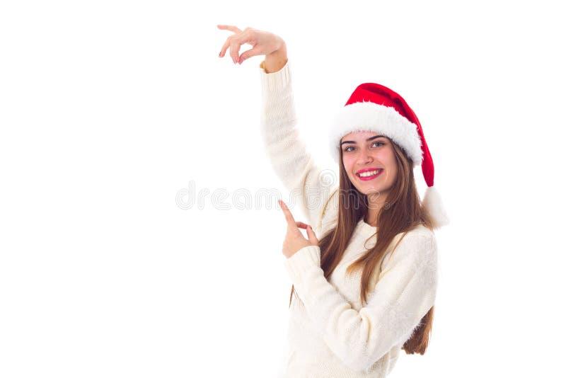 kvinna för julhattred royaltyfri foto