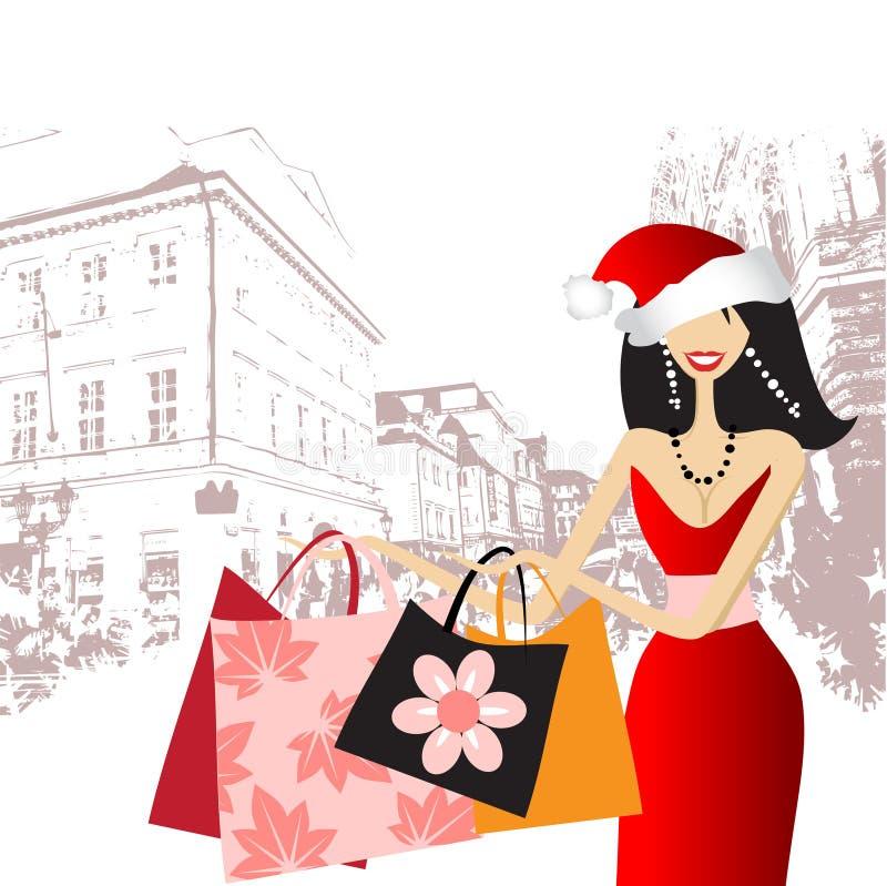 kvinna för julmodeshopping stock illustrationer