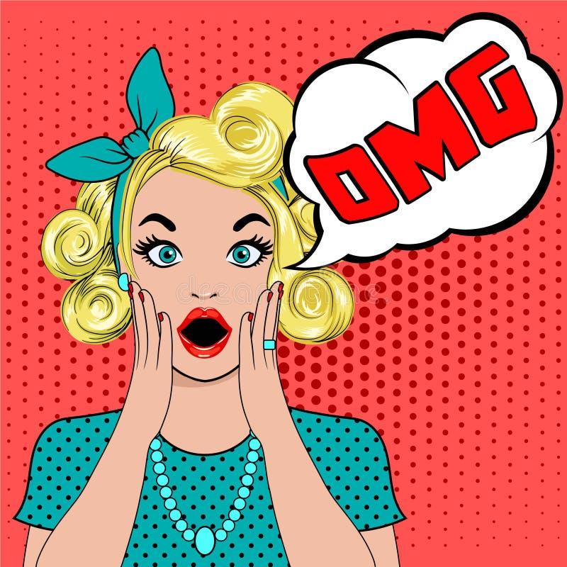 Kvinna för konst för OMG-bubblapop förvånad blond royaltyfri illustrationer