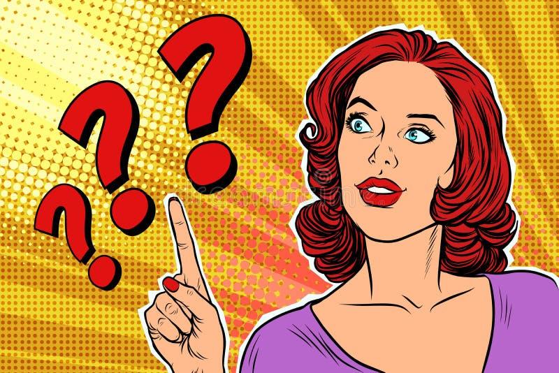 Kvinna för konst för pop för frågefläck stock illustrationer