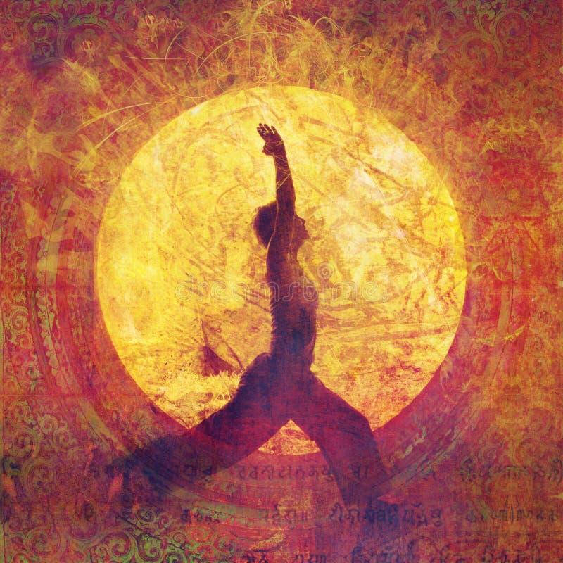Kvinna för krigare för yogabrandande royaltyfri illustrationer