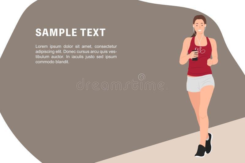 Kvinna för mall för baner för design för tecknad filmfolktecken som sund joggar och lyssnar till musiken i den samma tiden stock illustrationer