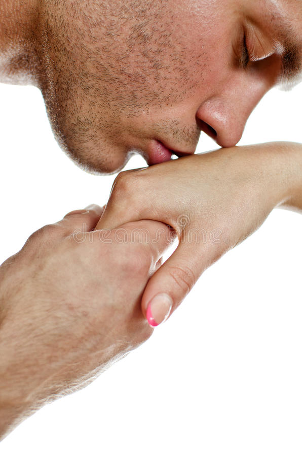 kvinna för man s för hand kyssande royaltyfria bilder