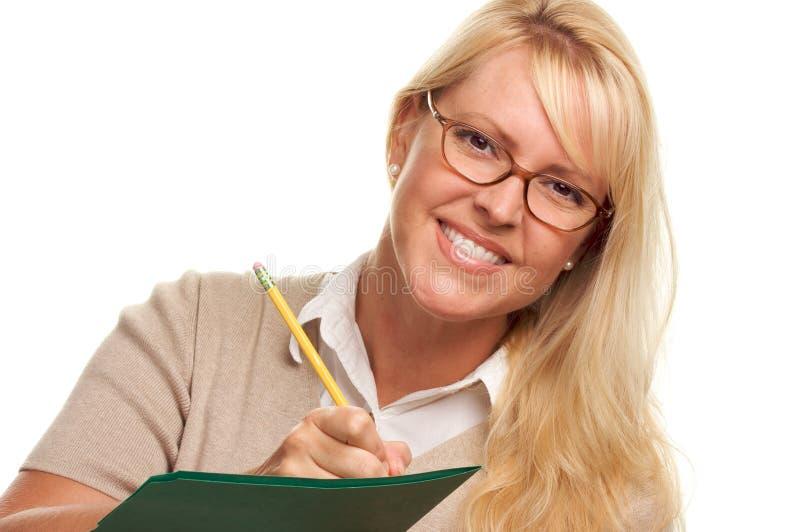 kvinna för mappblyertspennasmilng royaltyfri foto