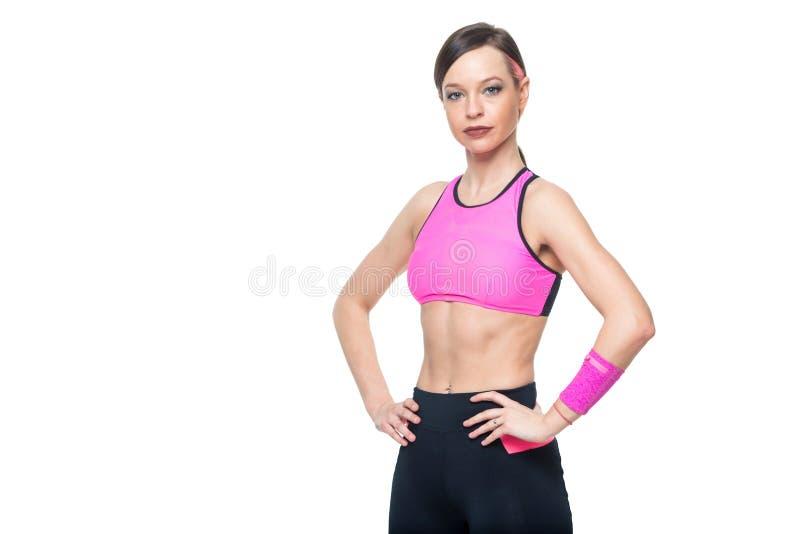 kvinna för model mång- stående för asiatisk för bakgrund härlig för kamera caucasian för kvinnlig flicka för kondition ny lycklig arkivbild