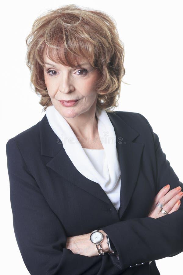 Kvinna för mogen affär som isoleras på vit bakgrund arkivfoton