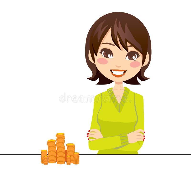 kvinna för myntguld stock illustrationer