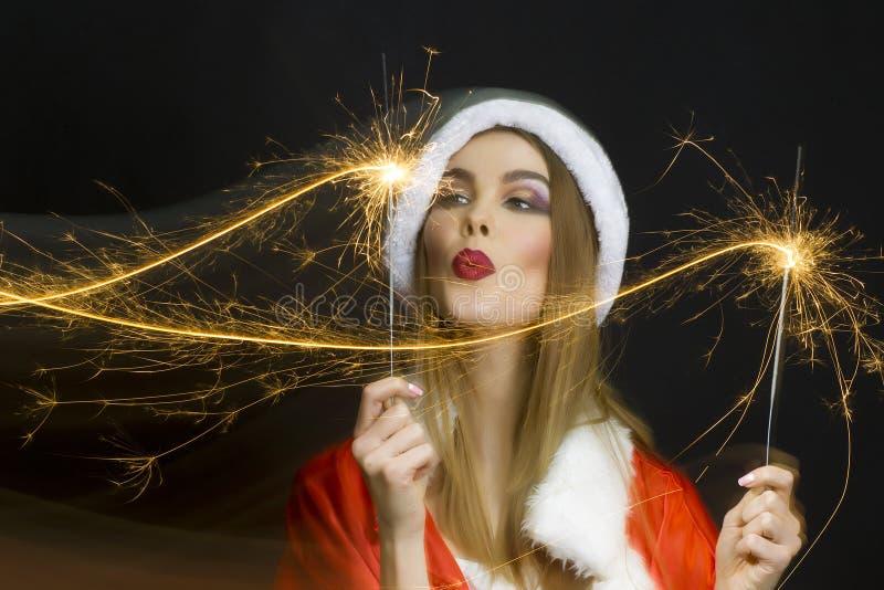 Kvinna för nytt år arkivfoto