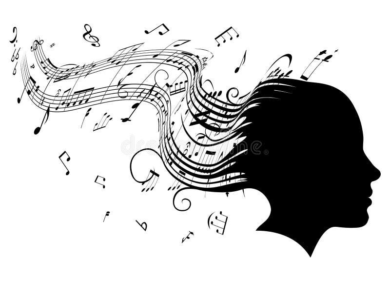 kvinna för profil för musik för begreppshårhuvud royaltyfri illustrationer